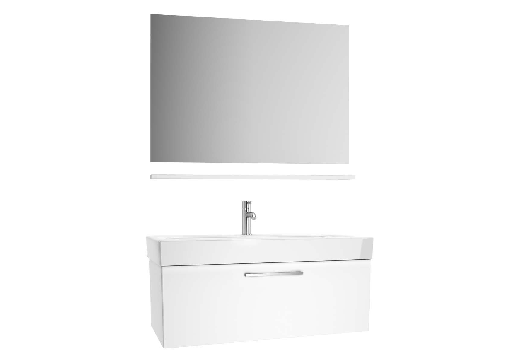 Optima Washbasin unit with drawer, 100 cm (washbasin unit + shelf + mirror)