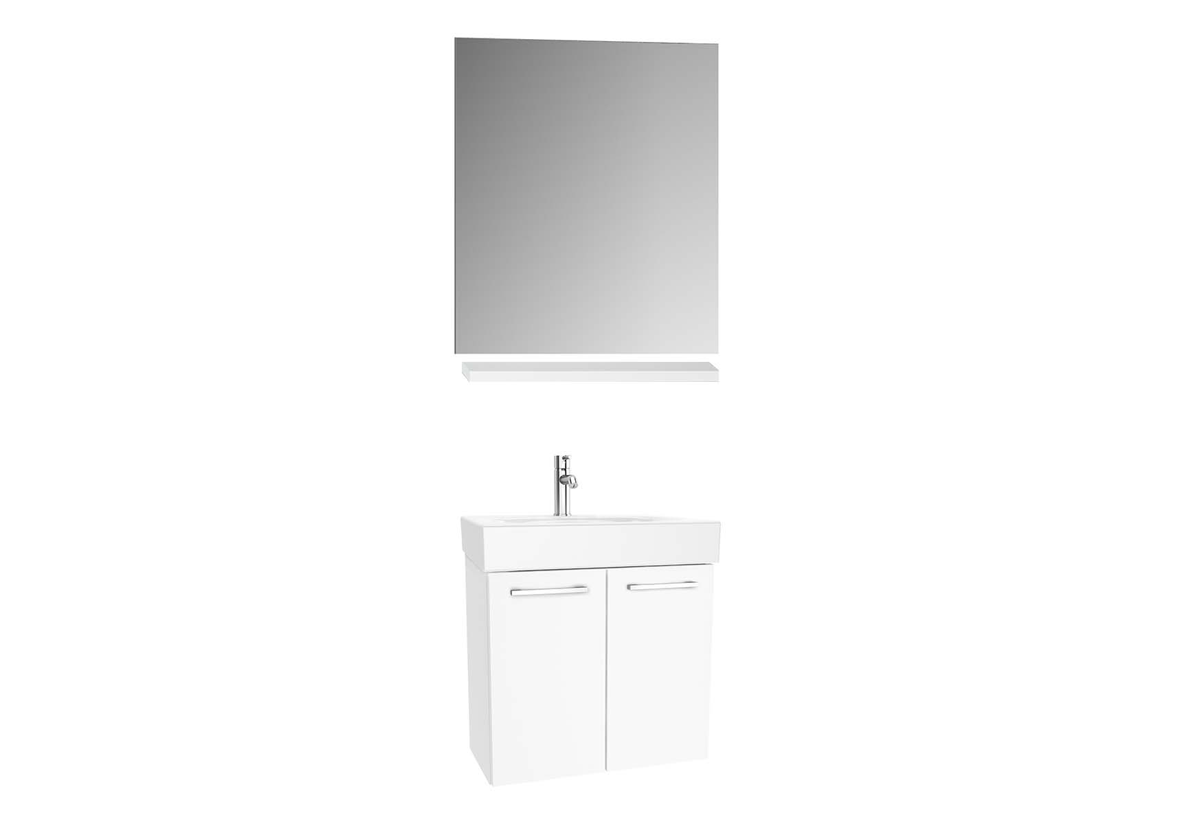 Optima Washbasin unit with doors 60 cm (washbasin unit + shelf + mirror)