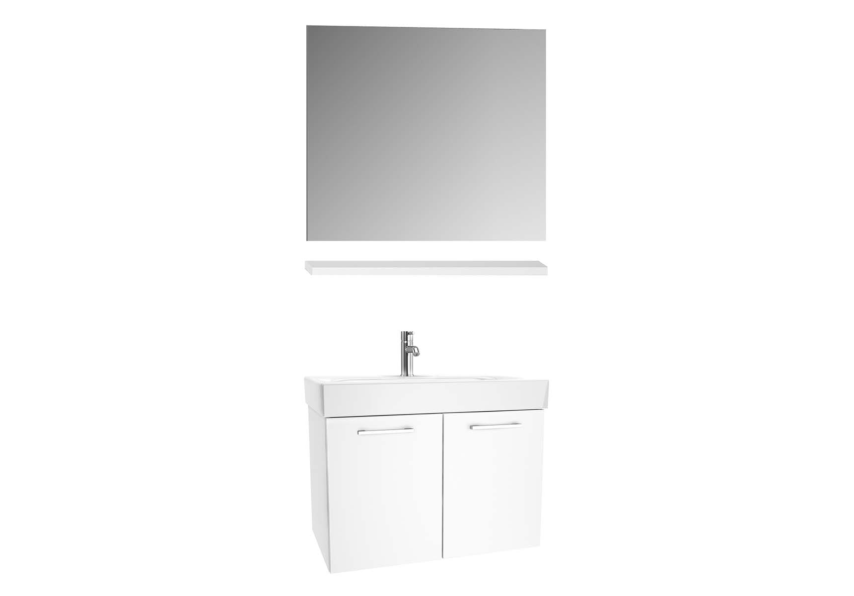 Optima Washbasin unit with doors 80 cm (washbasin unit + shelf + mirror)