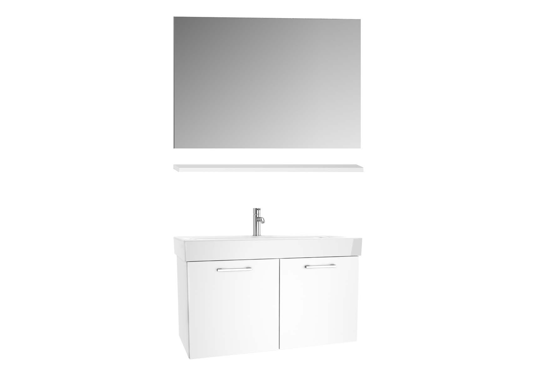 Optima Washbasin unit with doors 100 cm (washbasin unit + shelf + mirror)