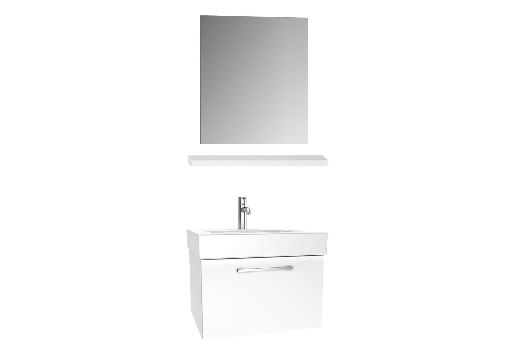 Optima Washbasin unit, w/drw, 60 cm + wb + shelf + classic mirror, HG White
