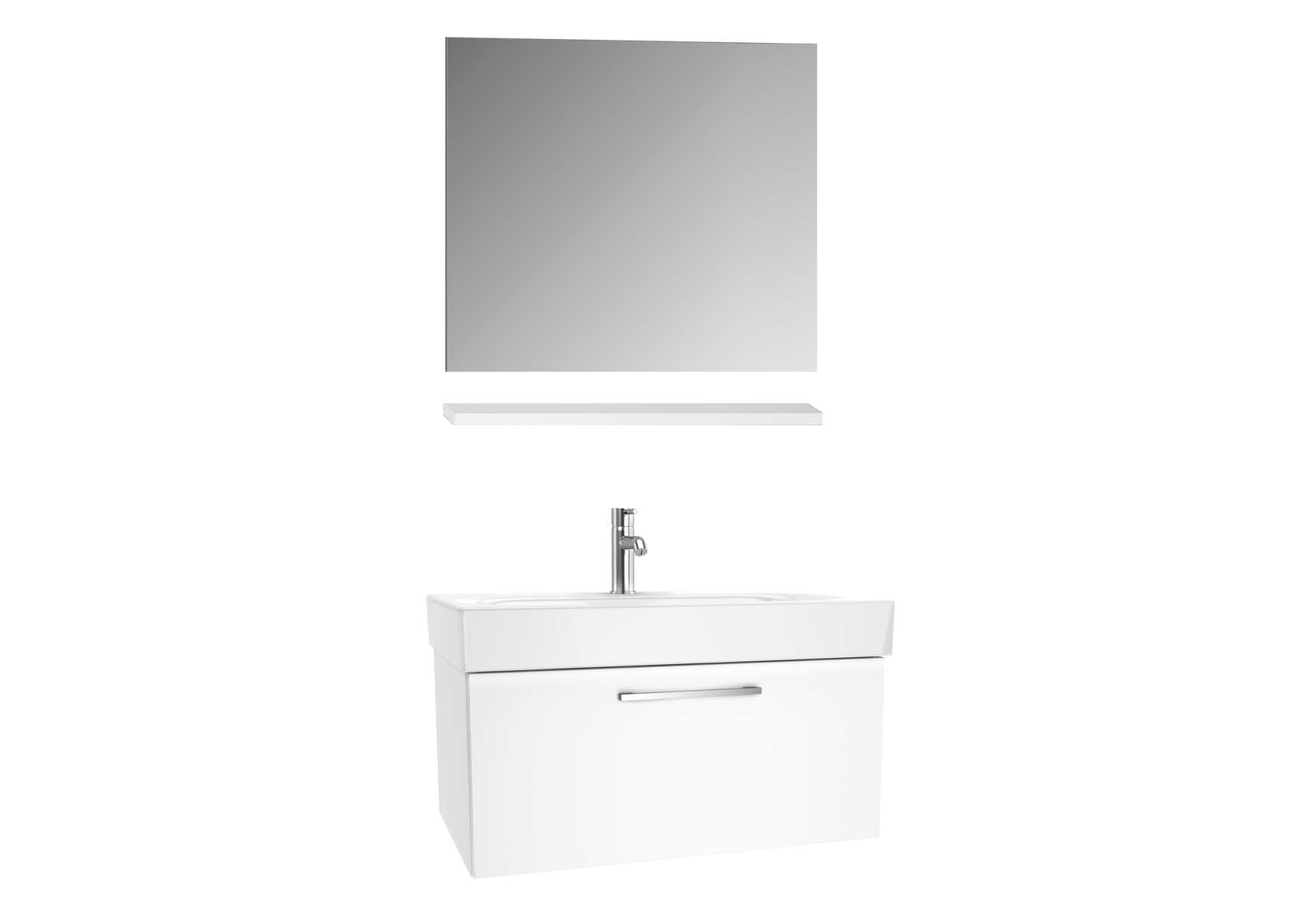 Optima Washbasin unit, w/drw, 80 cm + wb + shelf + classic mirror, HG White