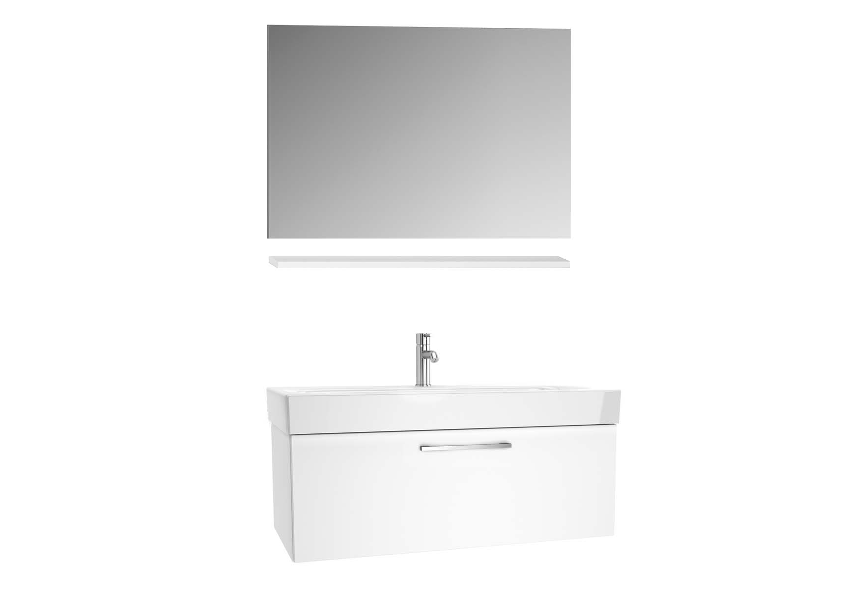 Optima Washbasin unit, w/drw, 100 cm + wb + shelf + classic mirror, HG White