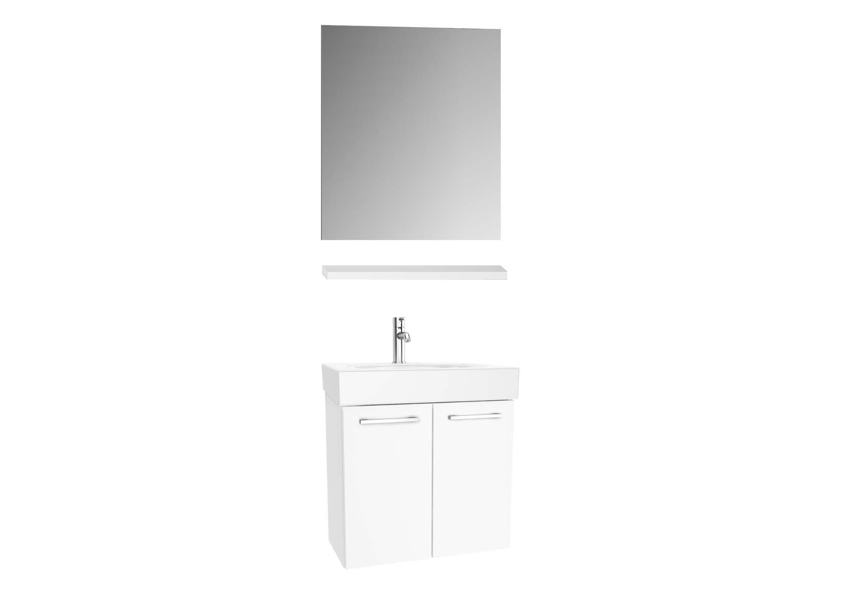 Optima Washbasin unit, w/doors, 60 cm + wb + shelf + classic mirror, HG White