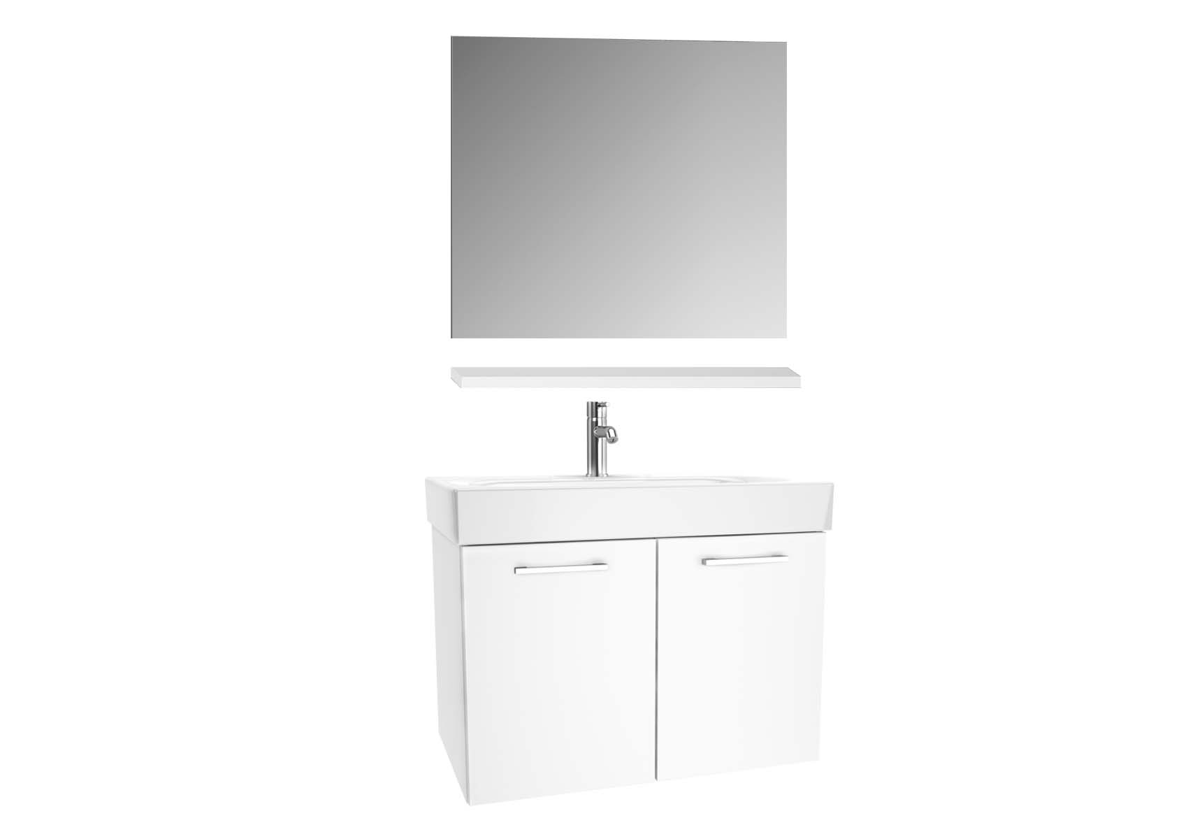Optima Washbasin unit, w/doors, 80 cm + wb + shelf + classic mirror, HG White