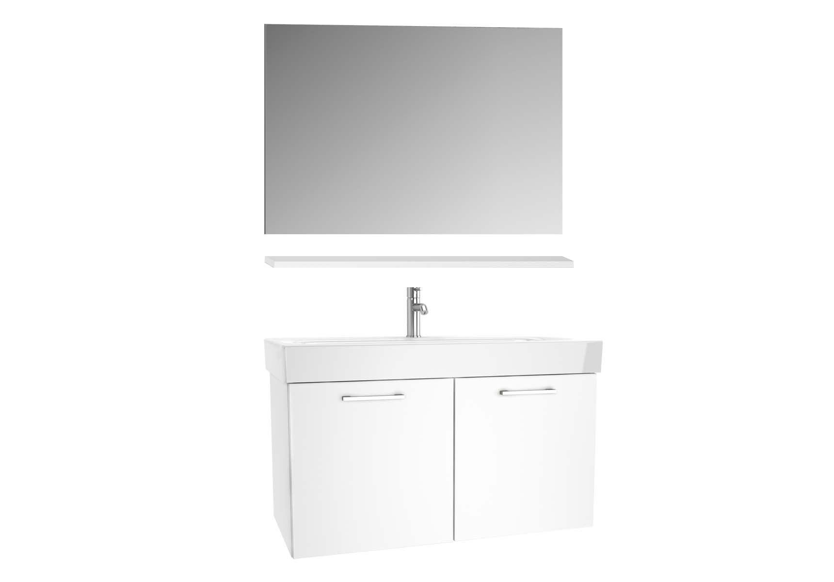 Optima Washbasin unit, w/doors, 100 cm + wb + shelf + classic mirror, HG White