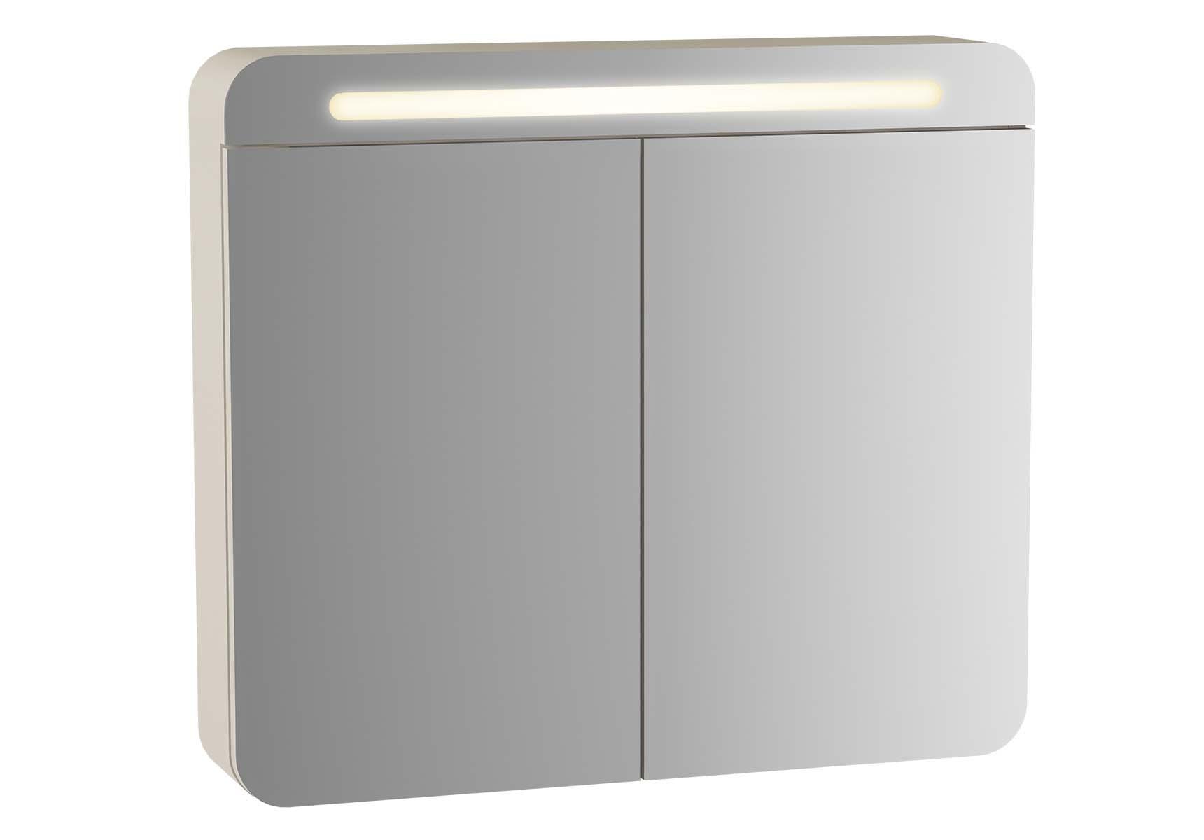 Sento Illuminated Mirror Cabinet, 60 cm, Matte Cream, left
