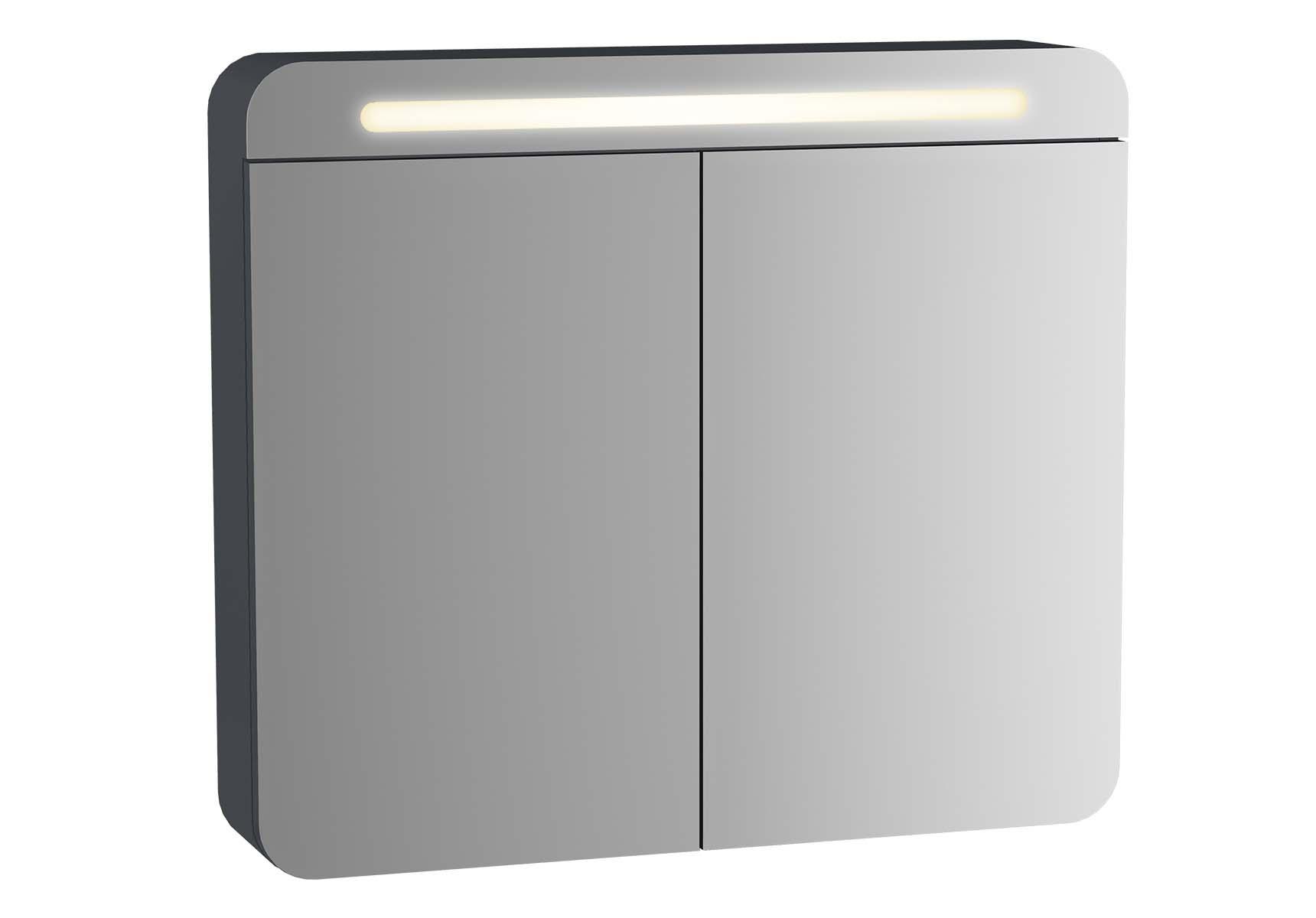 Sento Illuminated Mirror Cabinet, 60 cm, Matte Anthracite, left