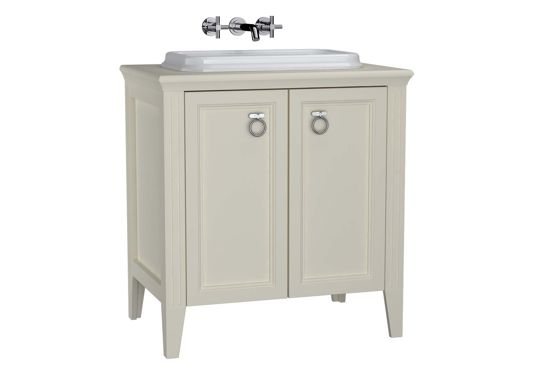 Valarte Washbasin Unit, 80 cm, with doors, with countertop washbasin, Matte Ivory