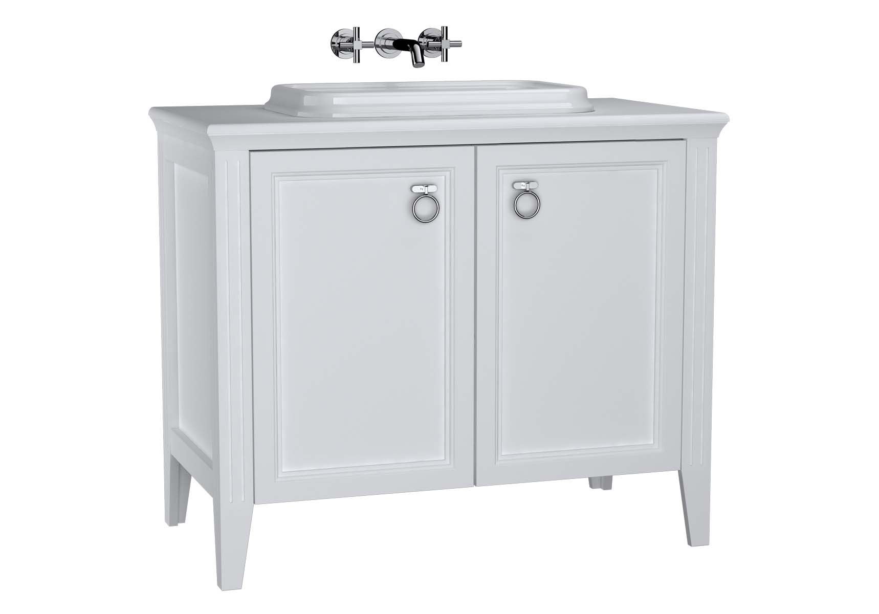 Valarte Washbasin Unit, 100 cm, with doors, with countertop washbasin, Matte White