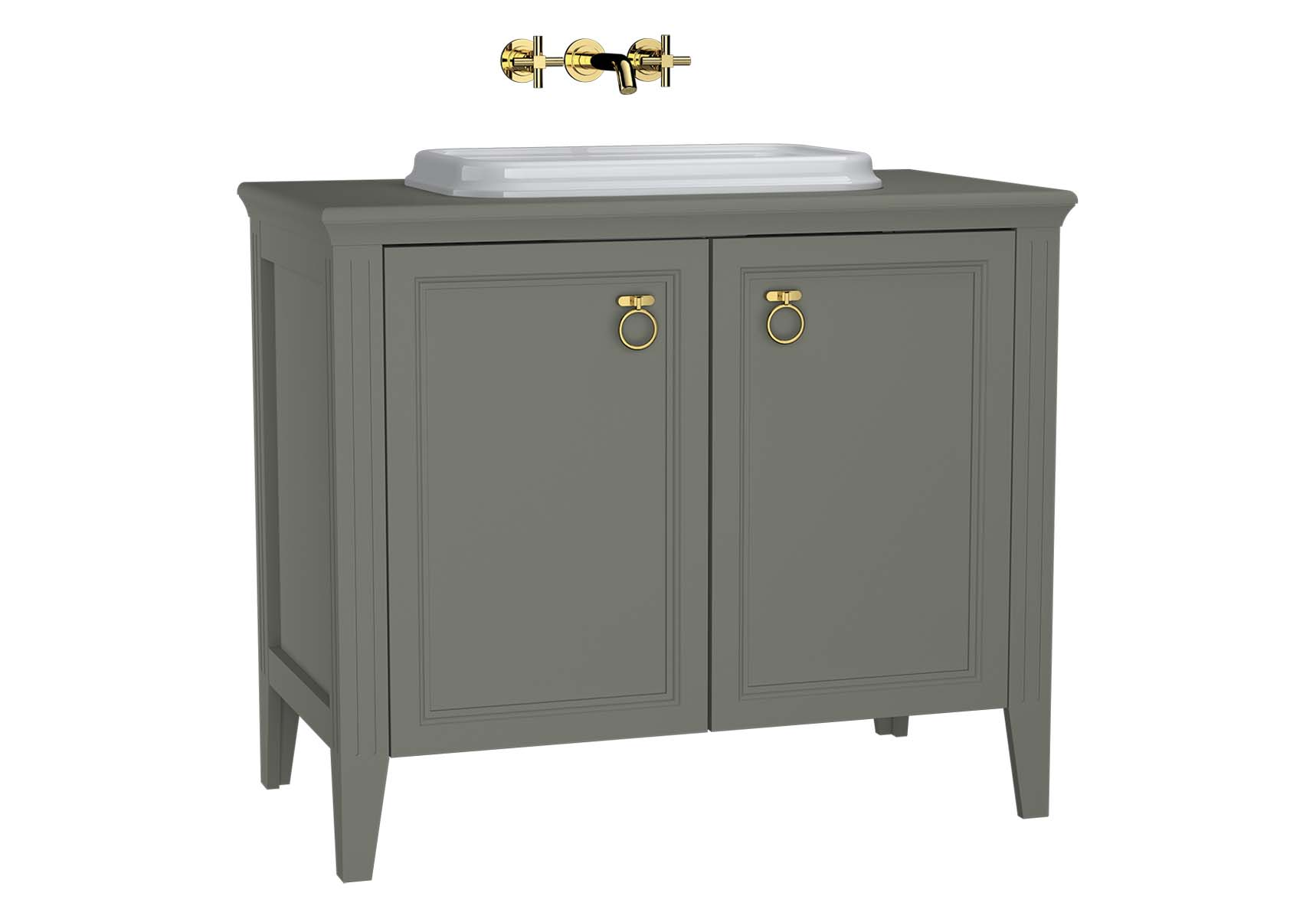 Valarte Washbasin Unit, 100 cm, with doors, with countertop washbasin, Matte Grey