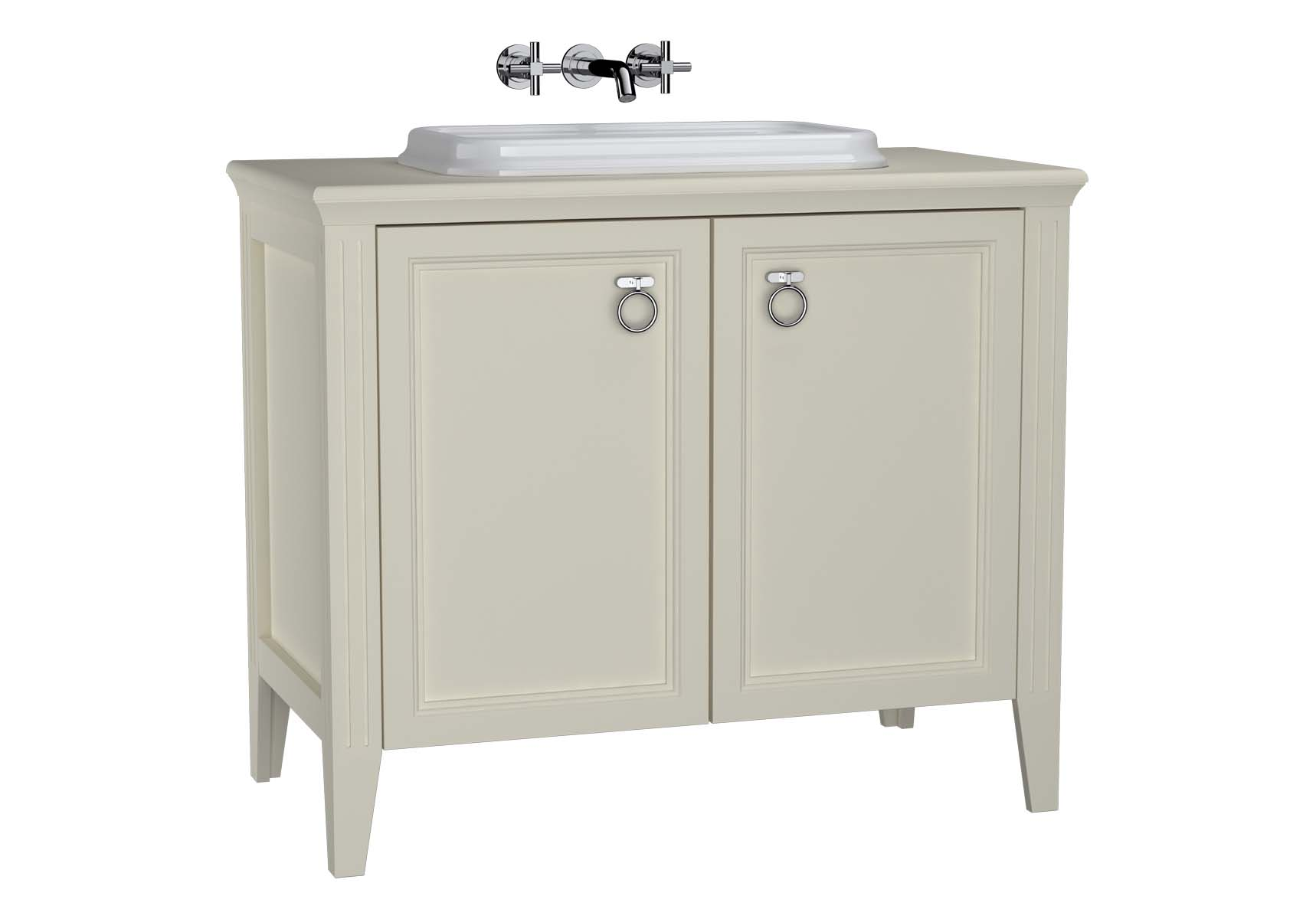 Valarte Washbasin Unit, 100 cm, with doors, with countertop washbasin, Matte Ivory
