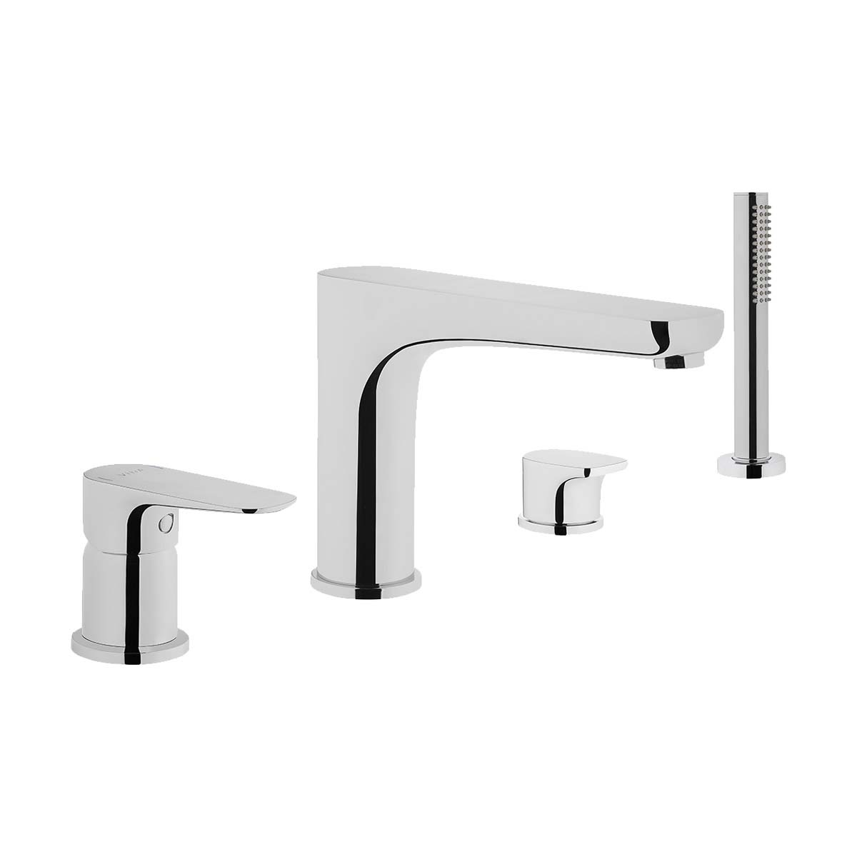 Bath mixer (for 4-hole bathtubs-deck mounted with handshower)