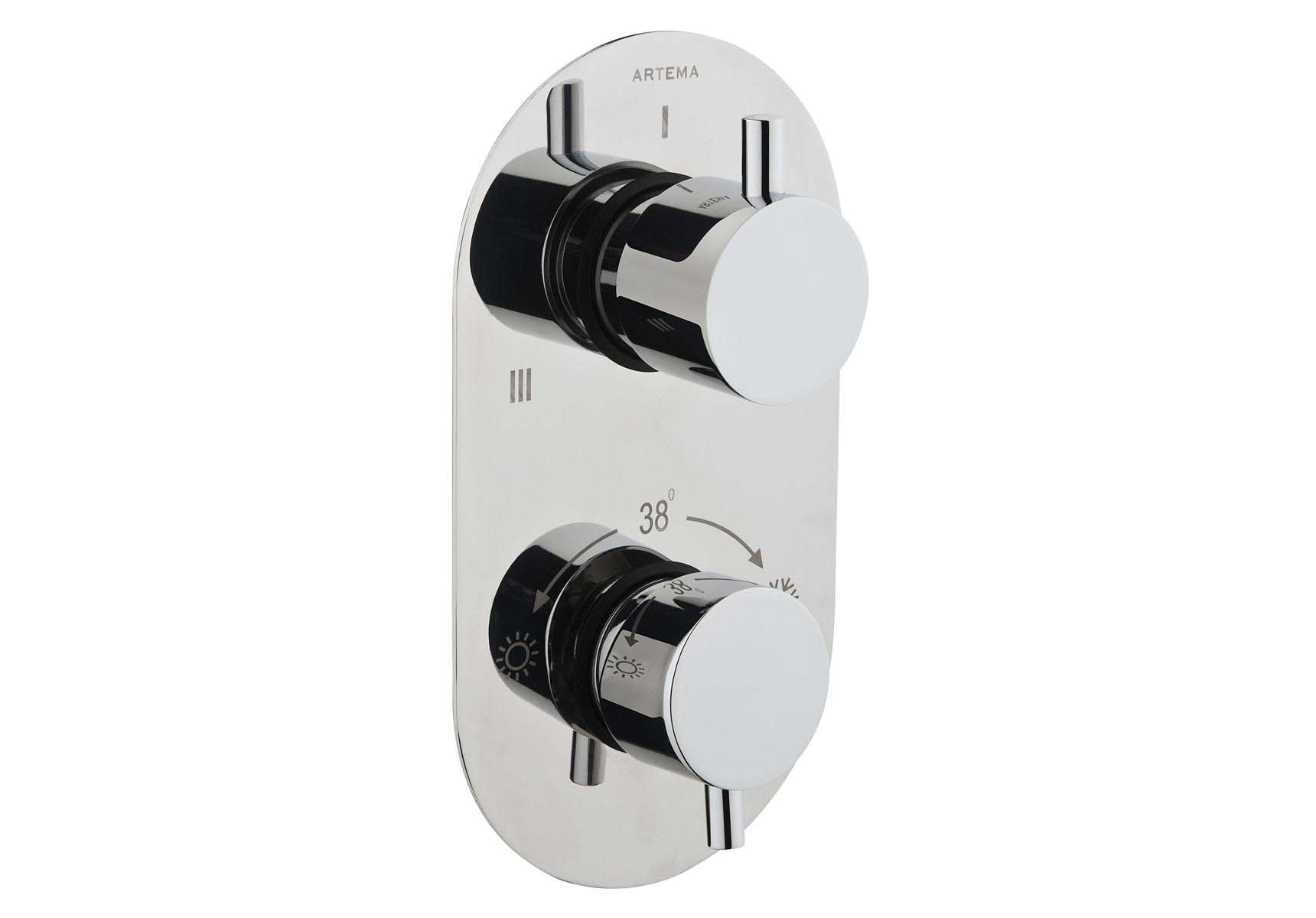 Aquatech Built-in Thermostatic Bath/Shower Mixer (180° Turn - 1+3 Way Diverter)